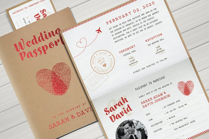 Thumbnail for Vintage-Reisepass Hochzeitseinladung
