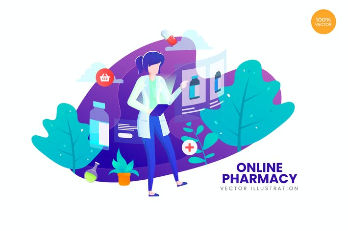 Thumbnail for Online Pharmacy Vector Illustration Concept