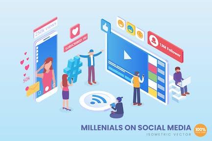 Isométrico Millenials On Social Medios de comunicación Vector