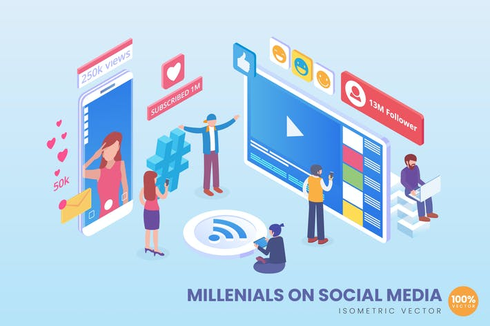 Thumbnail for Isometric Millenials On Social Media Vector