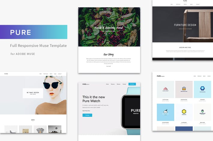 Thumbnail for Pure - Responsive Creative Portfolio Muse Template
