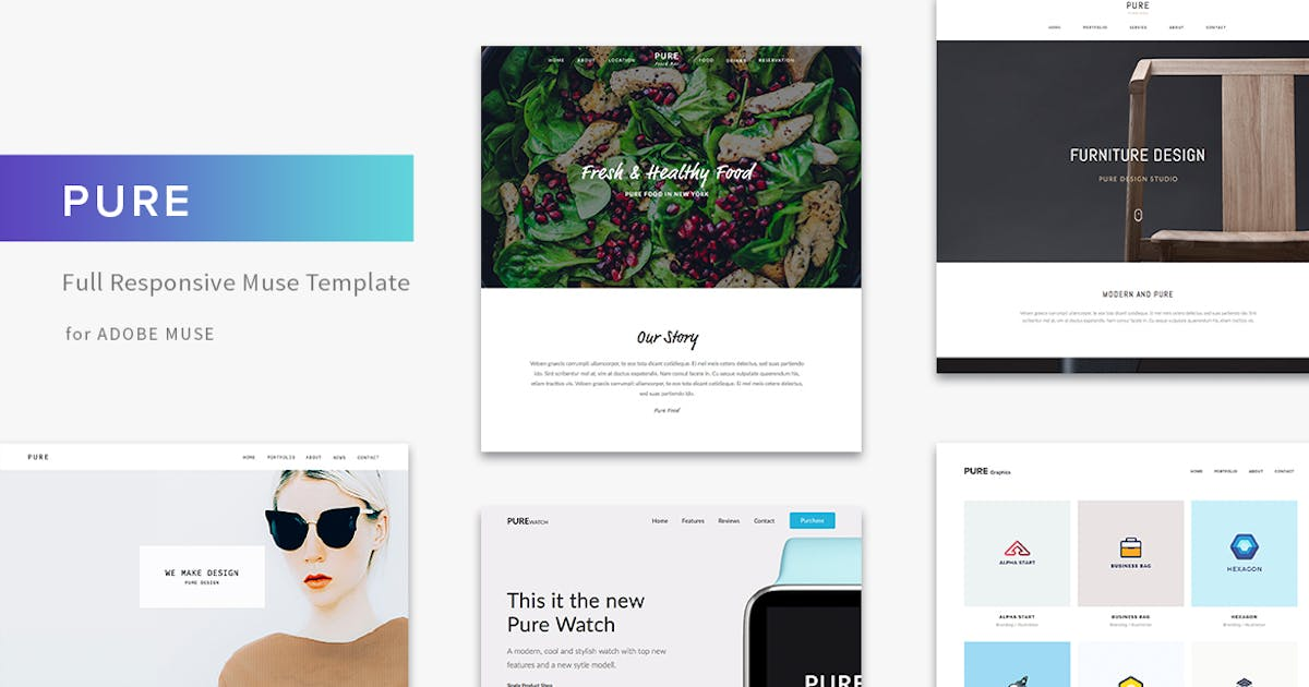Pure - Responsive Creative Portfolio Muse Template by