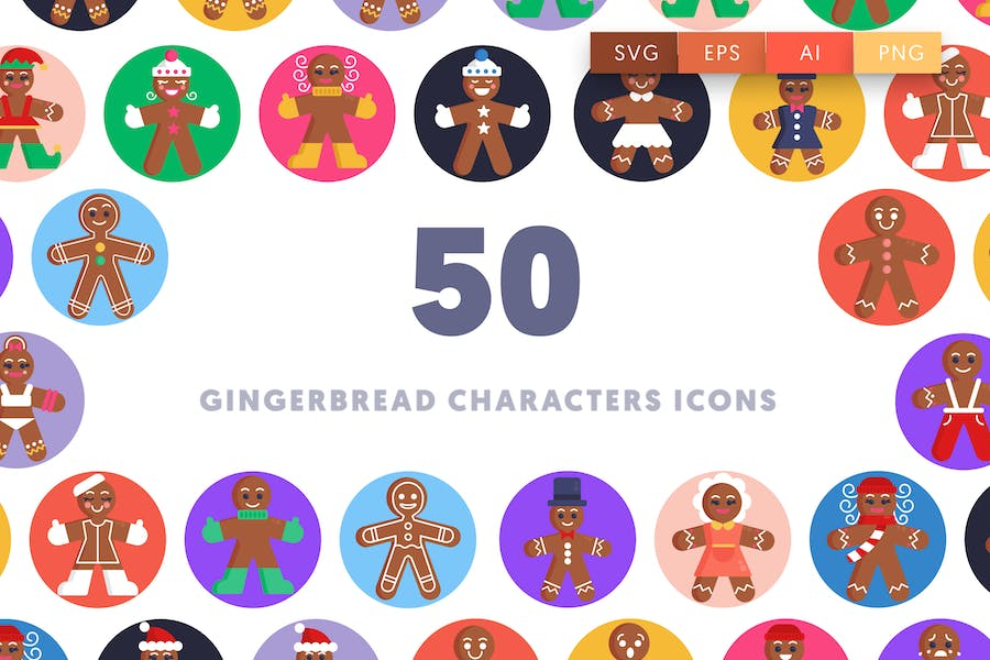 50 Gingerbread Characters Icons