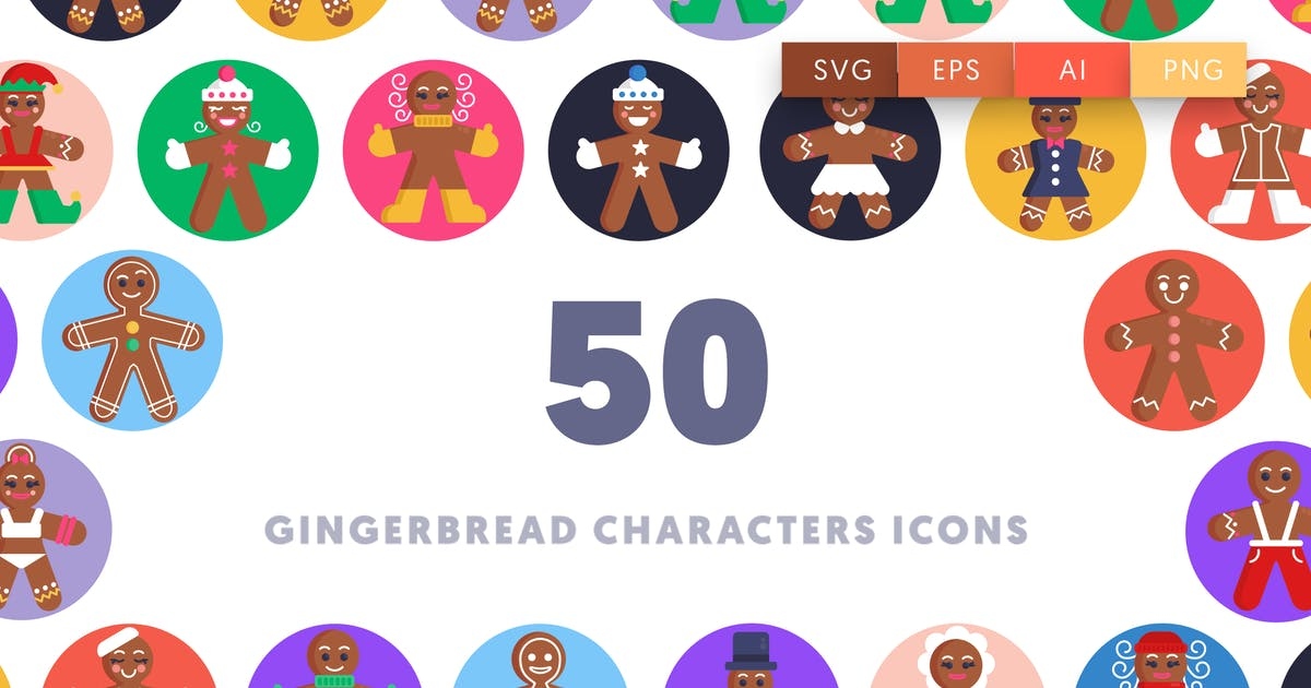Download 50 Gingerbread Characters Icons by thedighital