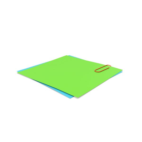 Green & Blue Papers With Paper Clip