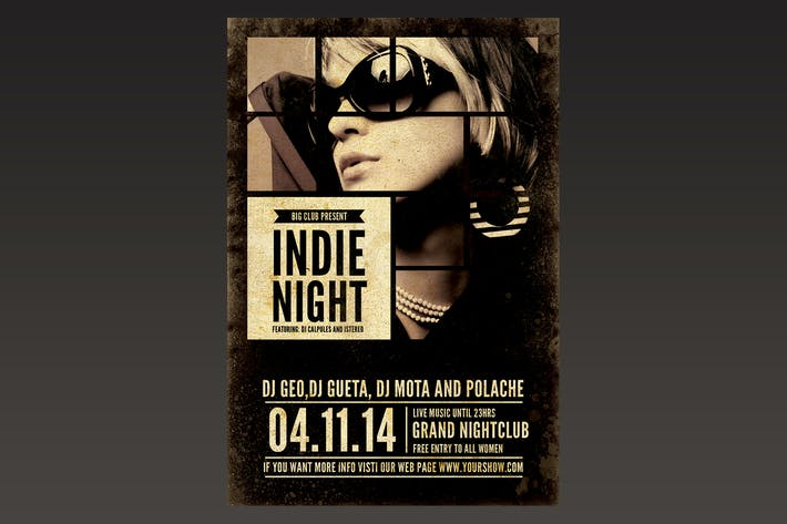 Thumbnail for Indie Night Flyer Poster