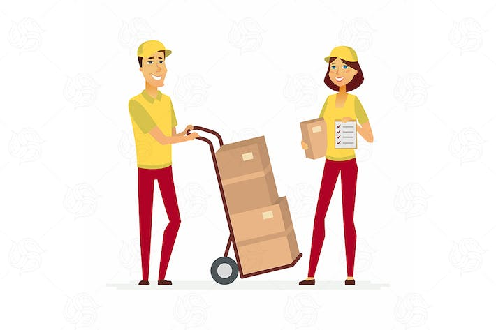 Thumbnail for Delivery service workers - vector illustration