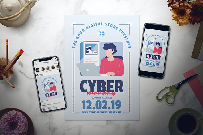 Thumbnail for Cyber Monday Flyer Set