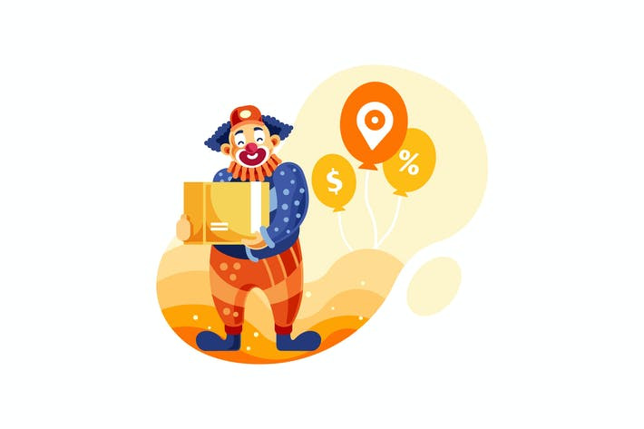 Thumbnail for Clown Delivery Service Vector Illustration