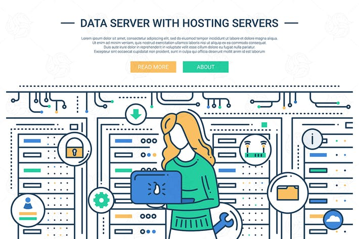 Thumbnail for Data Server and Hosting - line design website head