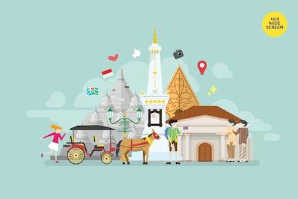 Yogyakarta Central Java Tourism Vector Concept