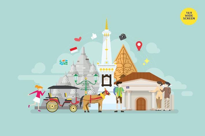 Thumbnail for Yogyakarta Central Java Tourism Vector Concept
