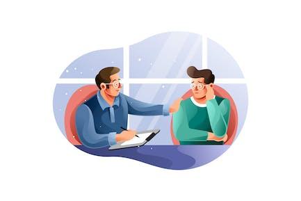 Psychotherapie-Sitzung mit einem Patienten