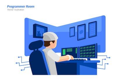 Programmer Room - Vector Illustration