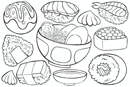 Japan Food Doodle in Cartoon Style #01