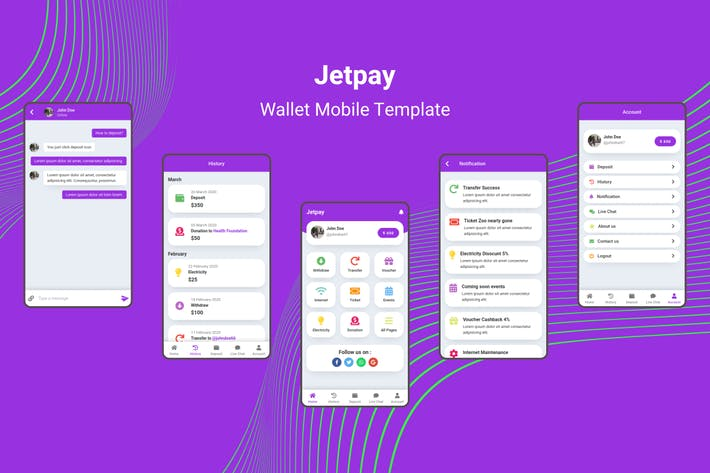 Thumbnail for Jetpay - Wallet Mobile Template