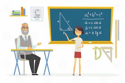 Geometry lesson at school - vector illustration