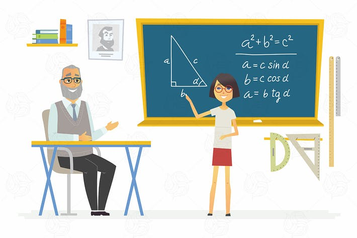 Thumbnail for Geometry lesson at school - vector illustration