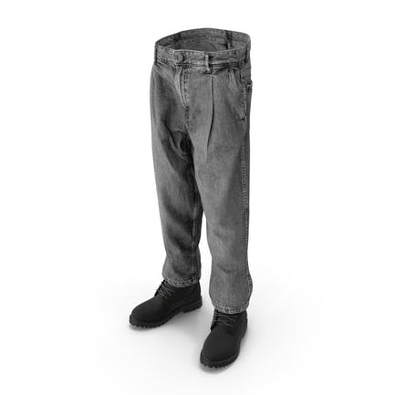 Herren-Stiefelette Jeans Dunkelgrau Schwarz