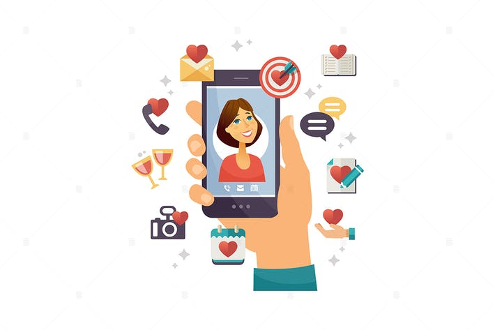 Thumbnail for Online dating app - vector colorful illustration