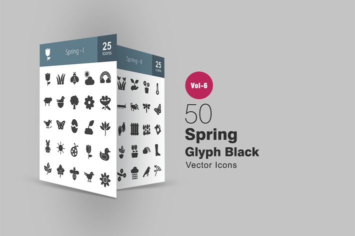 Thumbnail for 50 Spring Glyph Icons