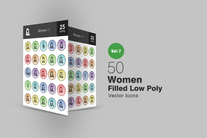 Thumbnail for 50 Women Filled Low Poly Icons