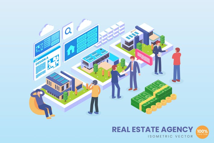 Thumbnail for Isometric Real Estate Agency Vector Concept