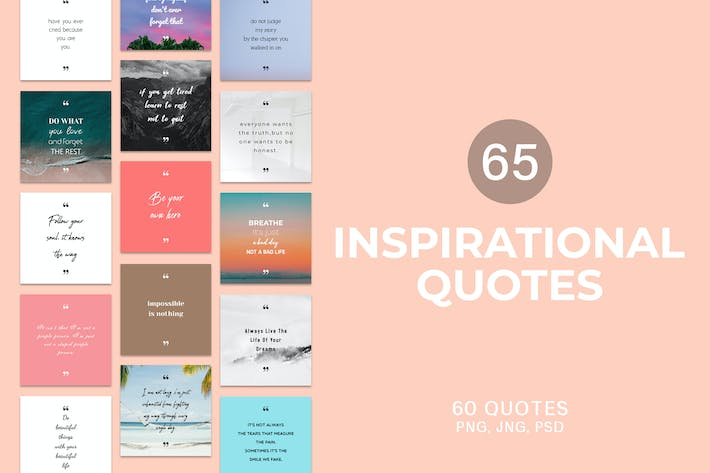 Thumbnail for 65 Inspirational Socail Media Quotes Pack