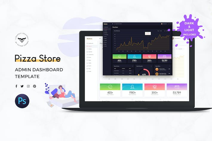 Cover Image For Pizza Store Admin Dashboard UI Kit