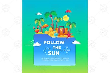 Illustration der flachen Design Postkarte mit Meer