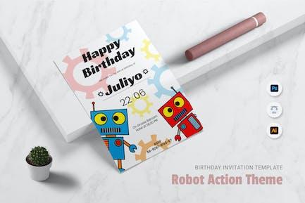 Robot An Action Birthday Invitation