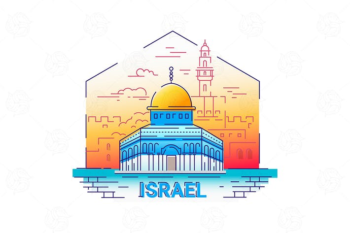 Thumbnail for Israel - modern vector line travel illustration