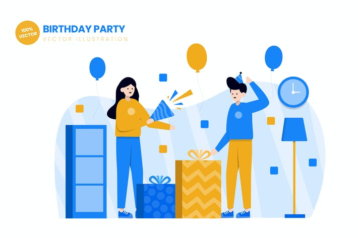 Thumbnail for Birthday Party Flat Vector Illustration