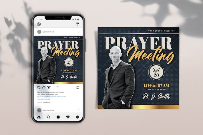 Thumbnail for Prayer Meeting Template Square Set