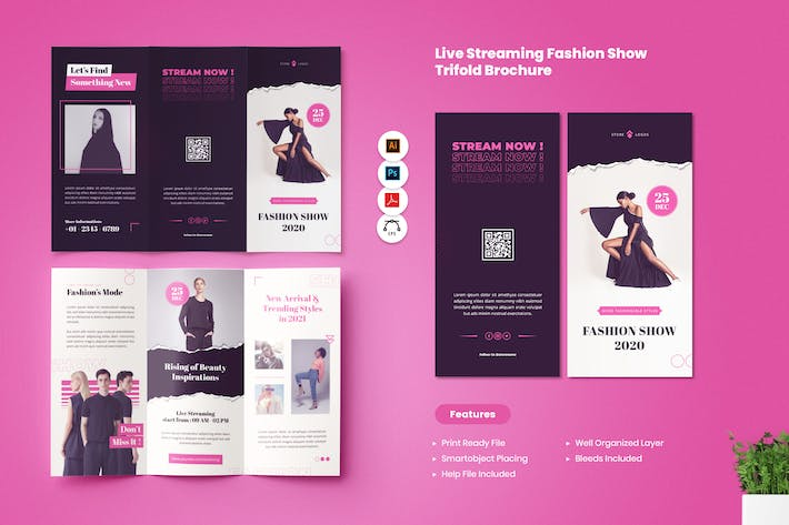 Thumbnail for Live Streaming Fashion Show Trifold Brochure