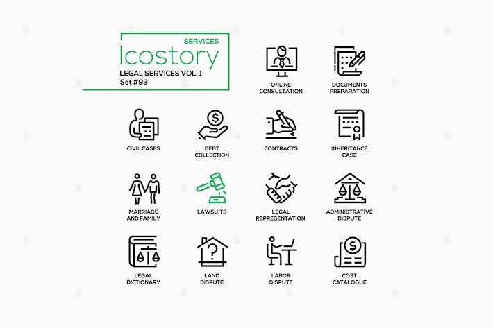 Juristische Dienstleistungen - Liniendesign Stil Icons gesetzt