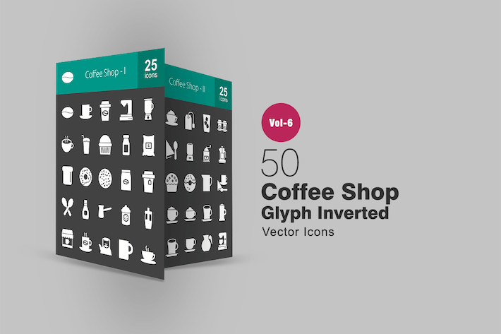 Cover Image For 50 Coffee Shop Glyph Inverted Icons