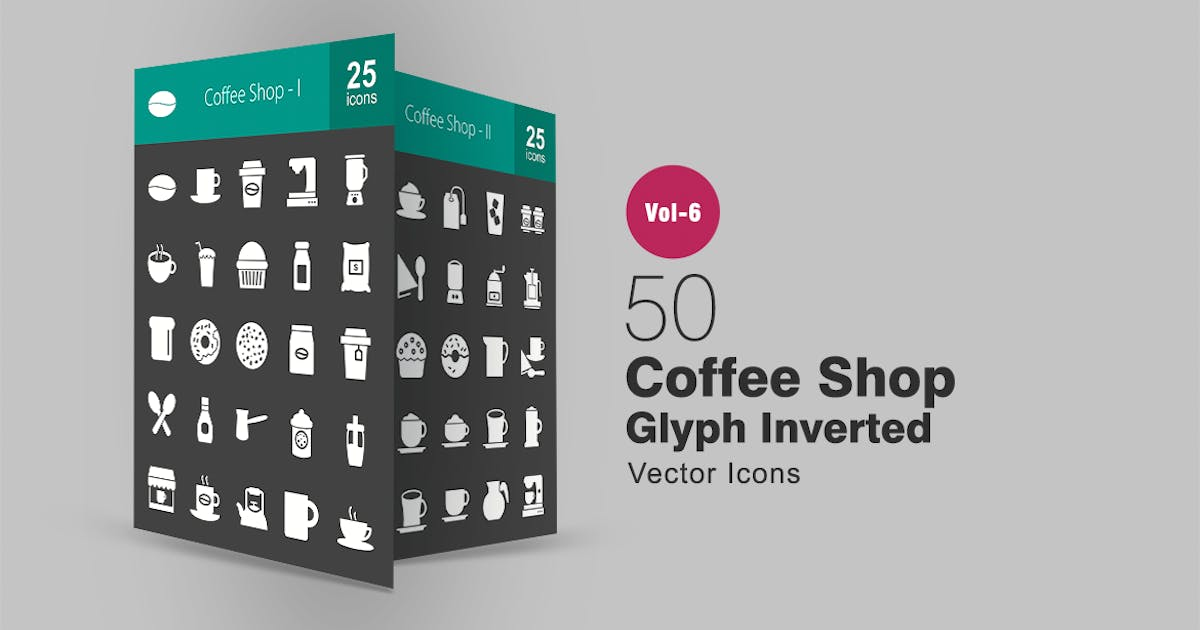 Download 50 Coffee Shop Glyph Inverted Icons by IconBunny