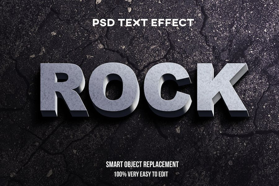 Realistic rock text effect