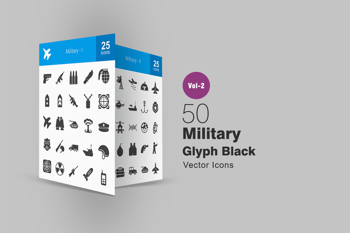 Thumbnail for 50 Military Glyph Icons
