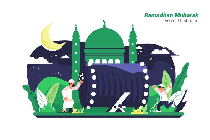 Cover Image For Ramadhan Mubarak - Vector Illustration