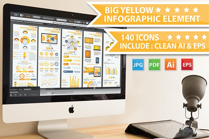 Thumbnail for Yellow Info Graphic Elements Design