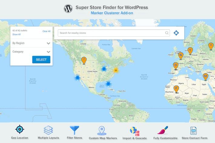 Thumbnail for Google Maps Marker Clusterer Add-on for WordPress