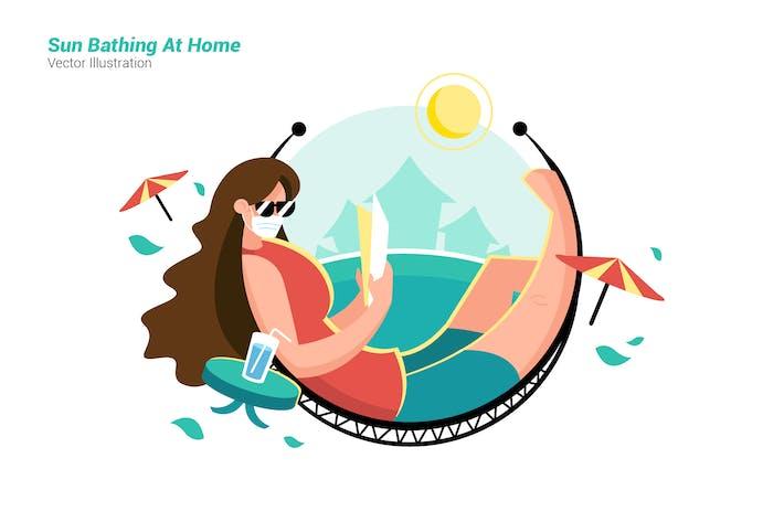 Thumbnail for Sonnenbaden zu Hause - Vektor Illustration