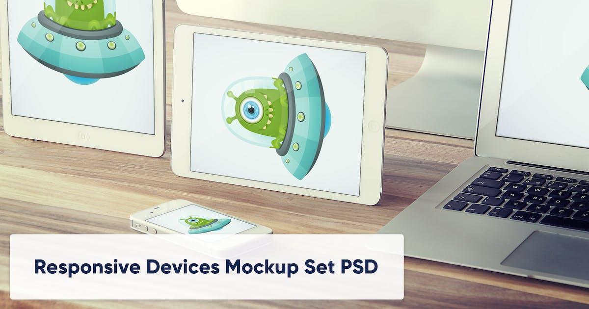 Download Tablets and Laptop on Wooden Desk - Mockup Set PSD by maroskadlec