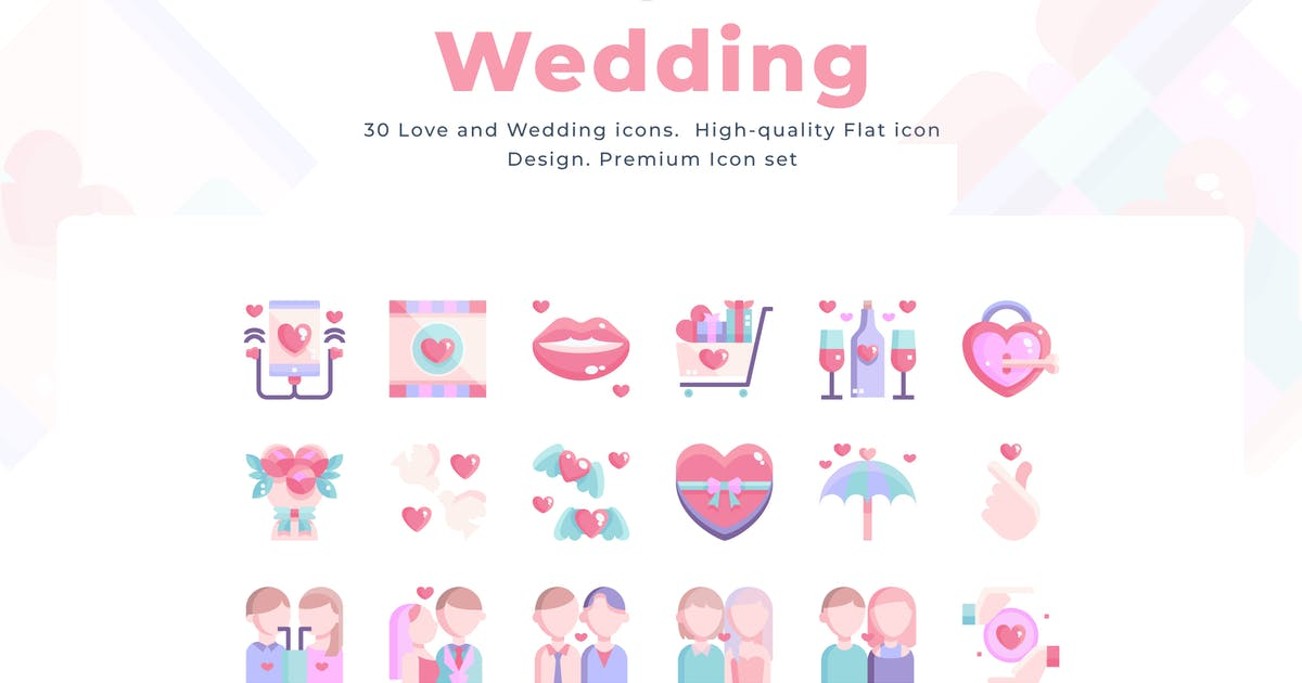 Download 30 Love and Wedding Icon set - Flat by Justicon