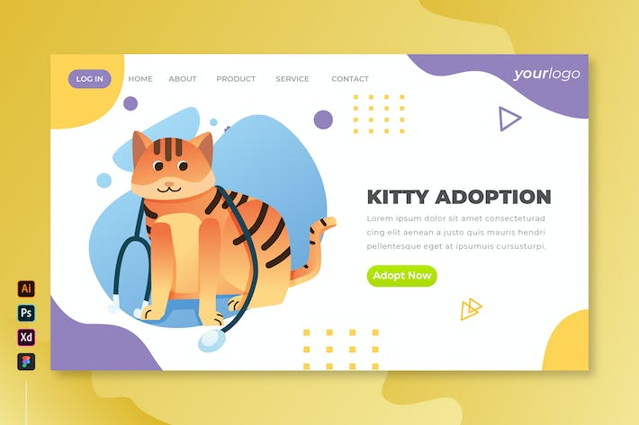 Thumbnail for Kitty Adoption - Vector Landing Page