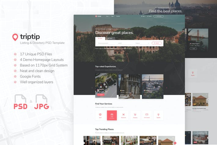 Thumbnail for TripTip - Listing & Directory PSD Template