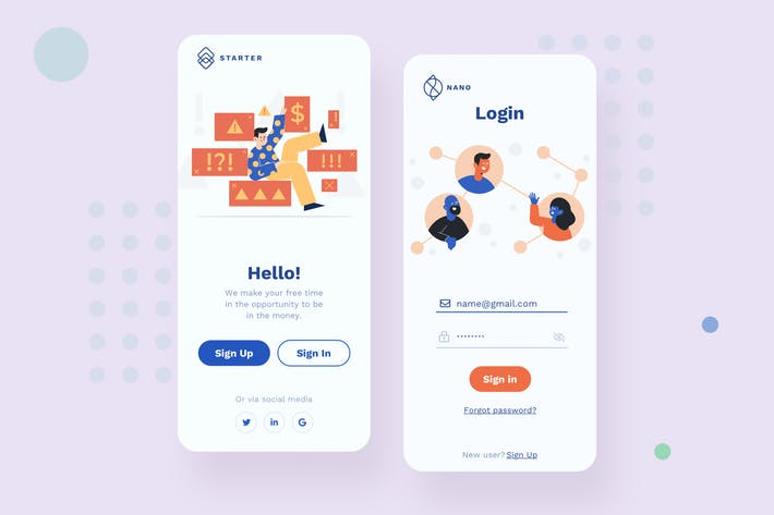 Thumbnail for Login Mobile Interface Illustrations