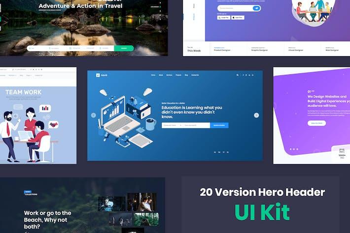 Thumbnail for 20 Hero Headers Design for Web UI Kit